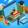 E-learning isometric composition with audio books, human characters with mobile devices on blue background vector illustration